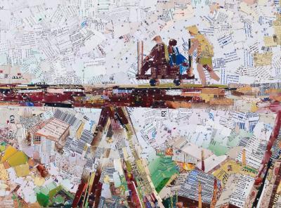《輕便橋》。胡達華九份老家門口就是輕便車的軌道, 他創作了許多相關主題的作品。