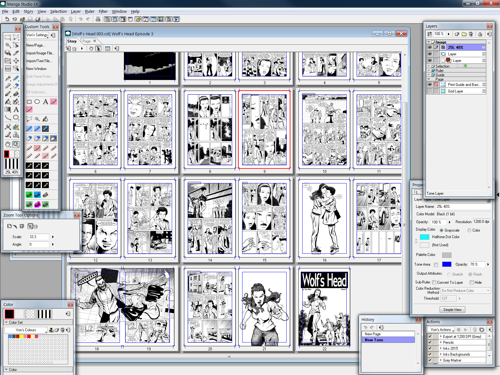 Wolf's Head Issue 3 Layouts in Manga Studio EX4 by Von Allan