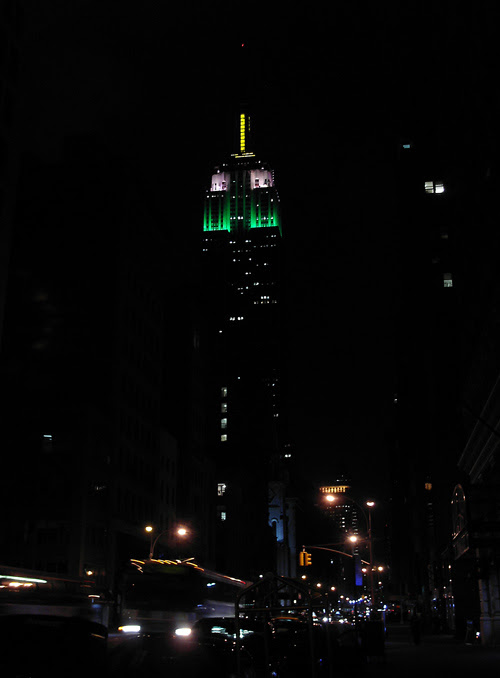 Empire State Building and street lights at night