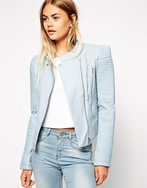 ASOS Leather Look Biker Jacket with Structured Shoulder