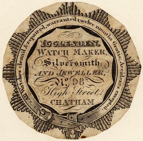 Igglesden Watchmaker, Chatham - garter-belt border enclosing inscription