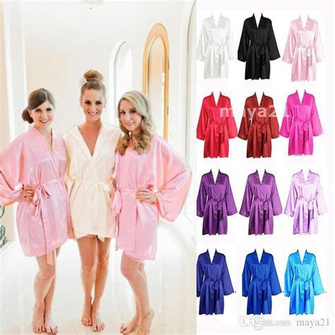 Long Sleeves Cheap Bridesmaid And Bride Robes Silk