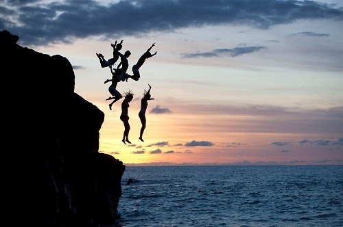 cliff, friends, group, jump, ocean, people