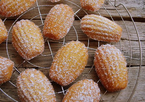Madeleines dusted