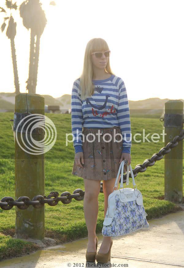 striped top, bird print skirt, flare heel platform pumps, floral handbag, California personal style blog
