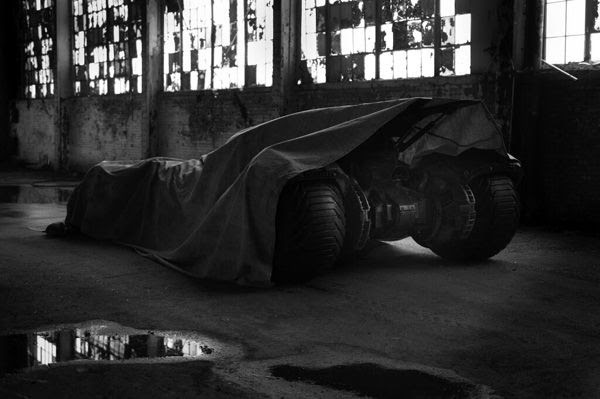 A sneak peek of the Batmobile from 2016's BATMAN VS. SUPERMAN.