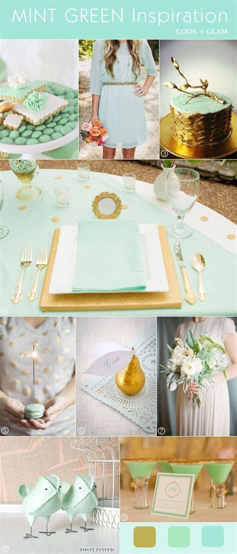 Mint green and gold wedding decor  Wedding ideas for