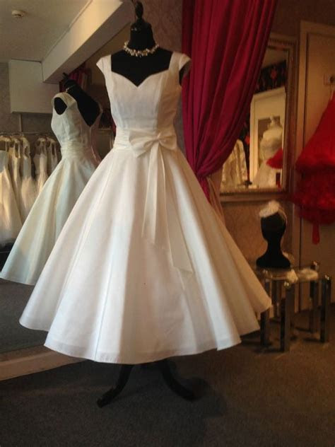 1950s 60s Tea Length Wedding Dress IVY UK 10 Vintage 50s