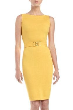St. John Belted Golden-Button Tank Dress
