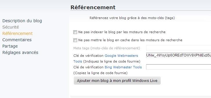 Les options référencement sur OverBlog V2