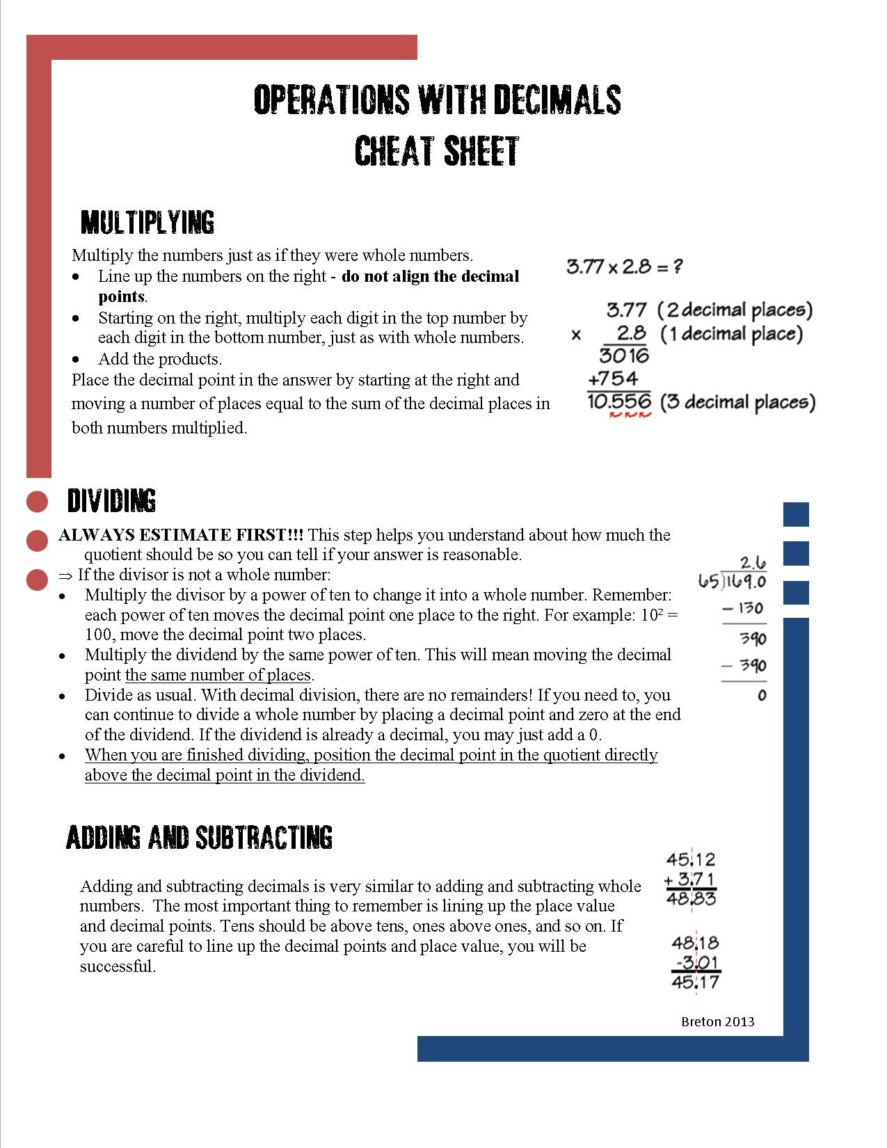 decimal computation cheat sheet picture