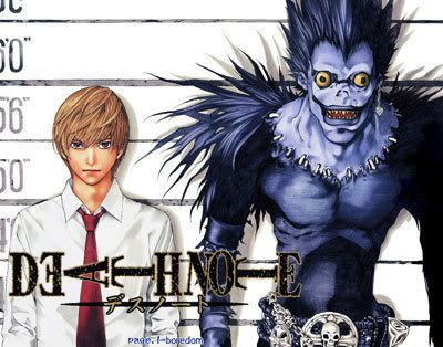 Light Yagami, a.k.a. Kira, with his Shinigami, Ryuk.