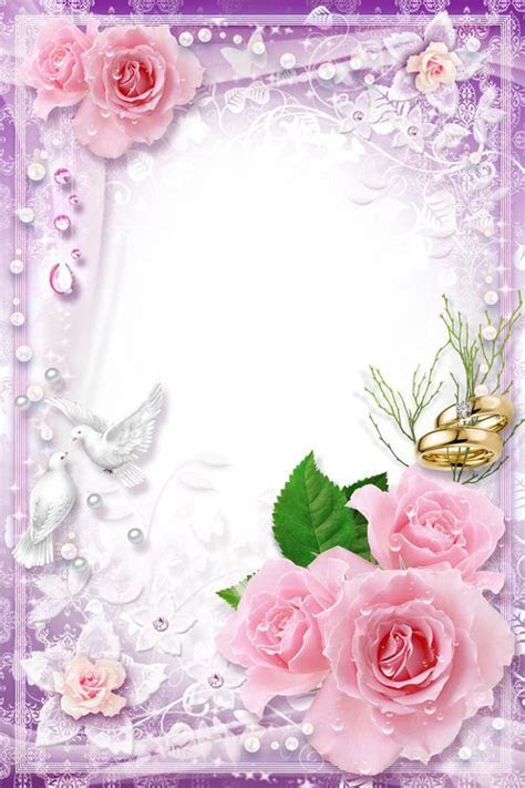 Wedding Frame psd template   White Doves, Symbol of Family