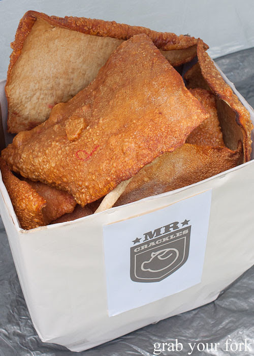 Giant box of pork crackling at the Sydney Food Bloggers Christmas Picnic 2013