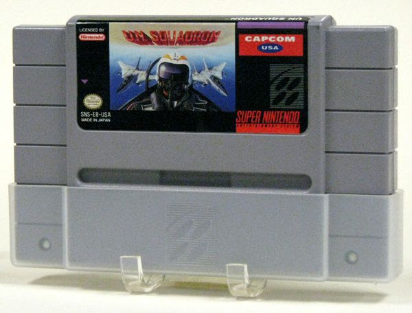 The Super Nintendo video game cartridge for U.N. SQUADRON.