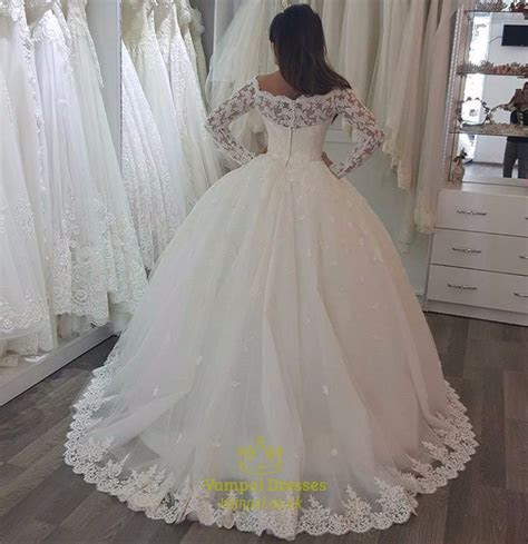 Ivory Luxury Embellished Lace Long Sleeve Ball Gown