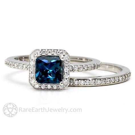 London Blue Topaz Diamond Halo Engagement Ring and Wedding