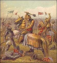 Artist's rendering of a battle scene from the Wars of the Roses. Art Print.
