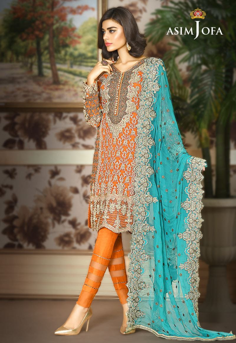 Pakistani Fancy Dresses Asim Jofa Chiffon Collection 2018 19 5