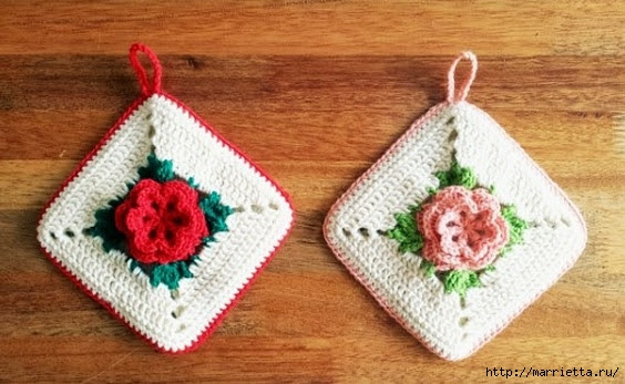 Crochet.  Tack with volume rose (10) (564x347, 153Kb)