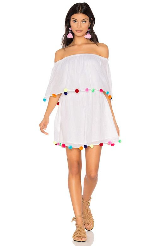 Le Fashion Blog Vacation Must Have White Off The Shoulder Pom Pom Dress Via Revolve