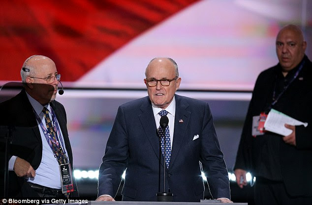 CALM BEFORE THE STORM: Giuliani recited a portion of the Gettysburg Address during his afternoon rehearsal at the convention podium