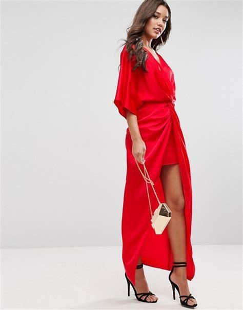 ASOS Kimono Twist Front Red Maxi Dress   Liyanah Liyanah.co