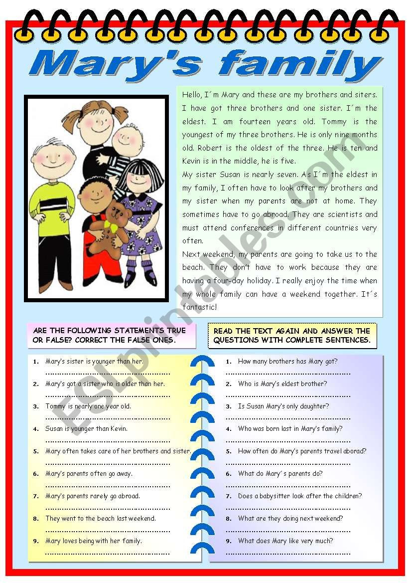 English Worksheets MARY´S FAMILY READING PREHENSION