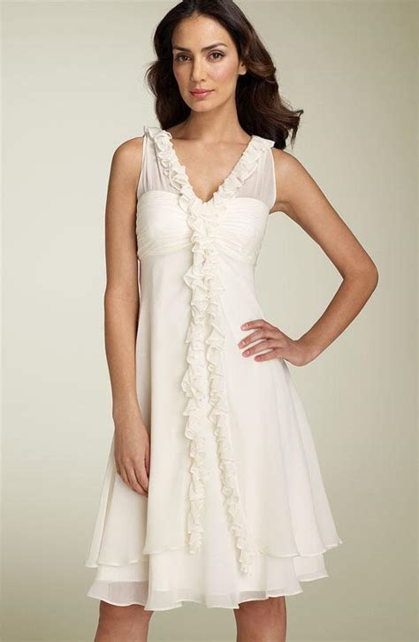 Short Ivory V neck Ruffled Chiffon Destination Wedding