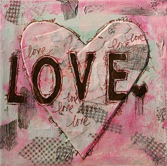 original mixed media art print - 5x5 love word art valentine pink heart