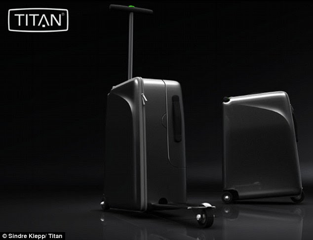 Cut down on the time it take to go from security to gate with this suitcase that converts into a scooter
