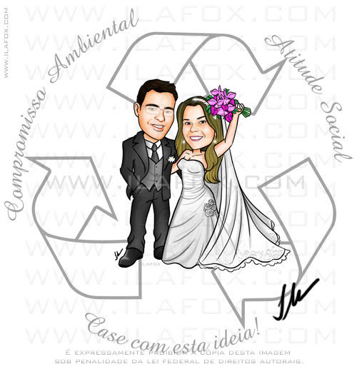 Caricatura noivos, simbolo reciclagem, lembrancinha sacola retornável, by ila fox