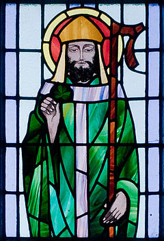 Kilbennan St. Benin's Church Window St. Patrick Detail 2010 09 16.jpg