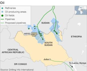 Map showing the location of oil fields in South Sudan