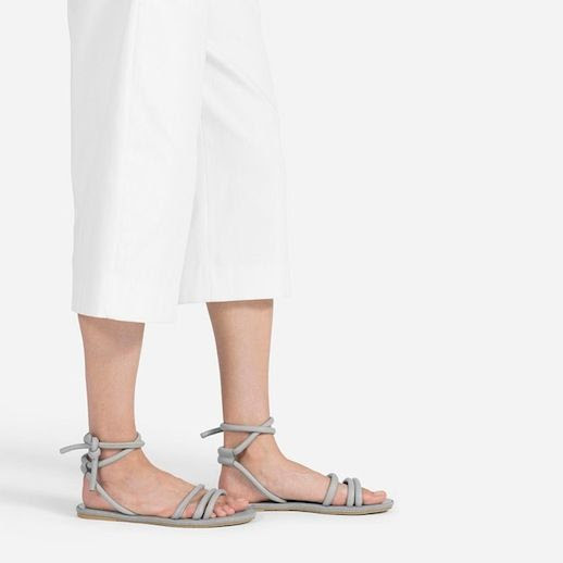 Le Fashion Blog Everlane The Knot Sandal White Gaucho Culottes Grey Ankle Wrap Flat Sandals