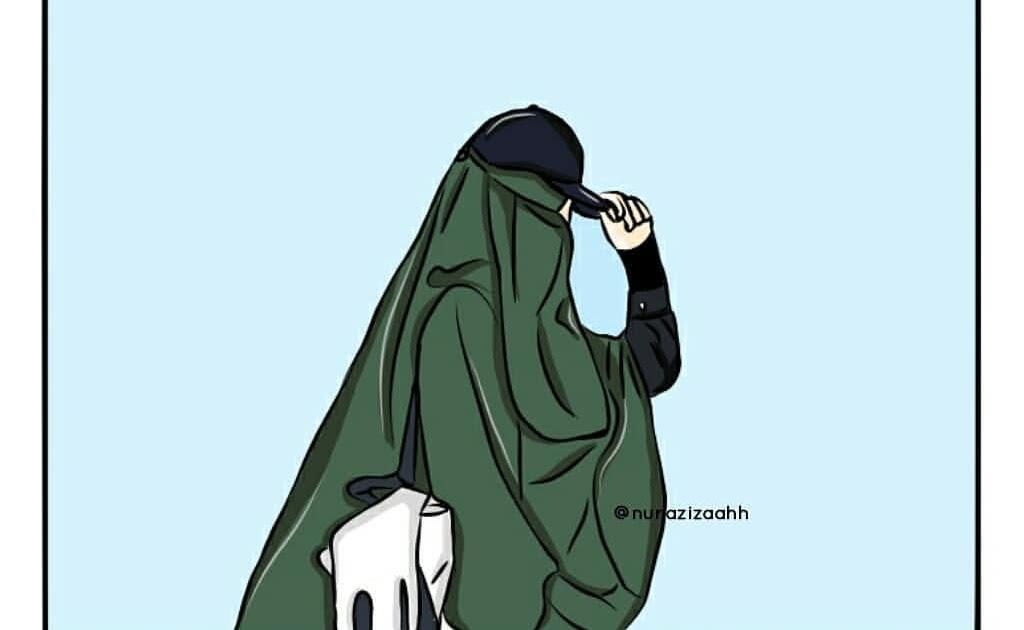 Gambar Kartun Muslimah Cantik Berkacamata: Gambar Kartun Muslimah Bercadar Bertopi
