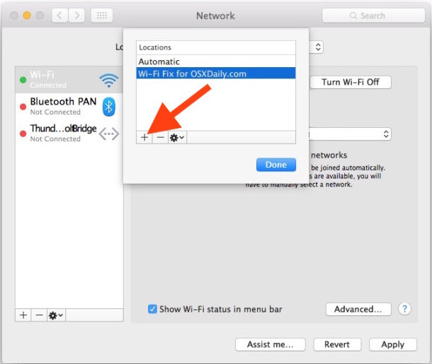 Create new network location in OS X