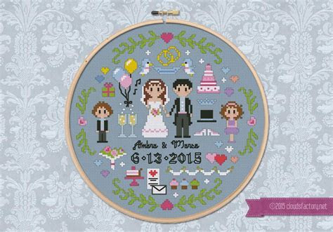 Wedding Sampler   Digital Cross Stitch Pattern