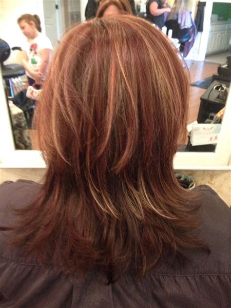 layers  warm blonde highlights  racing red