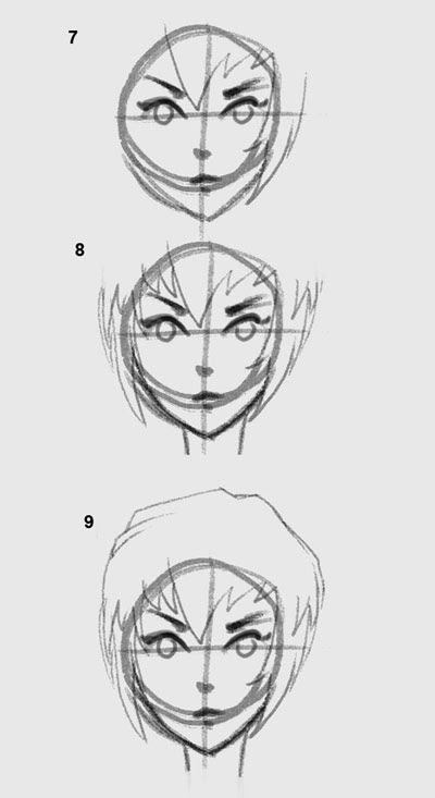 How to draw Anime, girl, manga, Face, tutorial