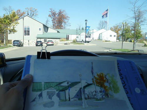 Plein air painting at the Library by teshionx