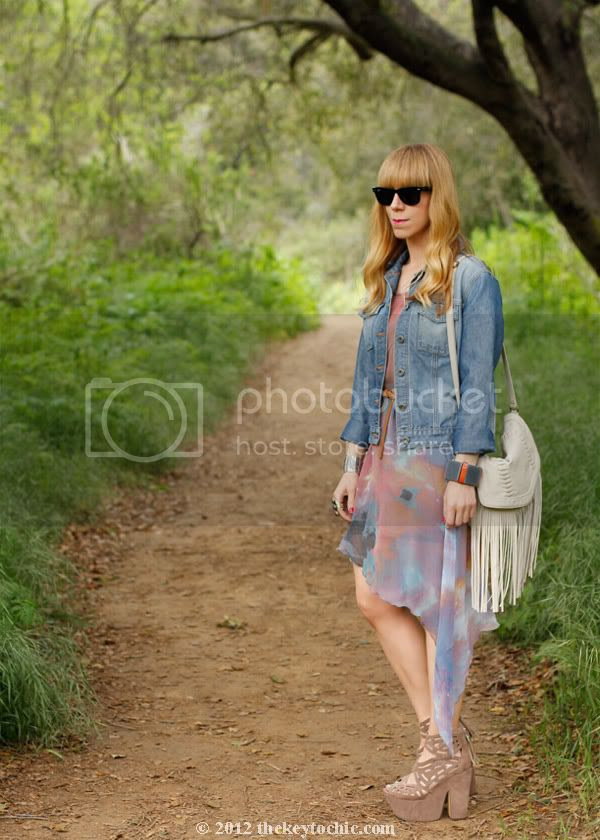 denim jacket, galaxy print dress, Michael Antonio Gallista heels, Los Angeles fashion blog, southern California street style