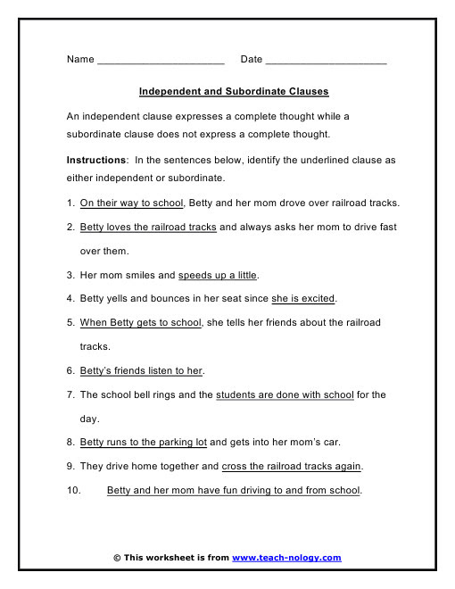 Subordinating Conjunctions Worksheet  Homeschooldressage.com
