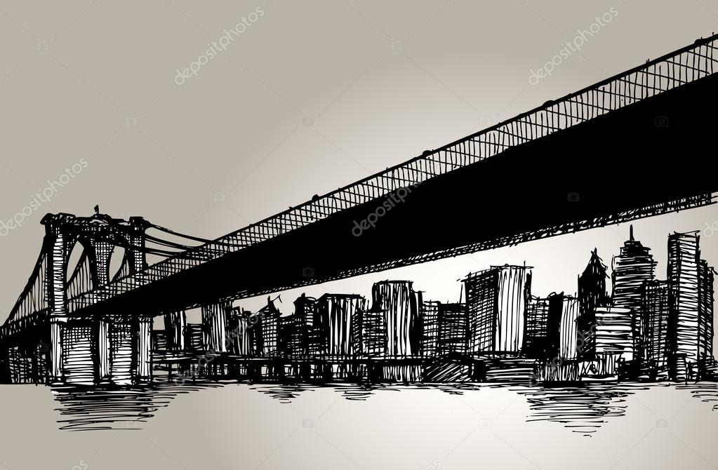 New York Brooklyn Bridge Hand zeichnen — Stockvektor #89432806