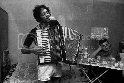 Jimi Hendrix playing an accordion