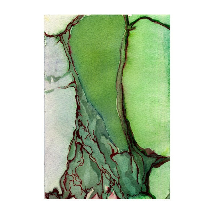 Art print, green abstract, topography, map inspired, Blood Delta - tahliaday