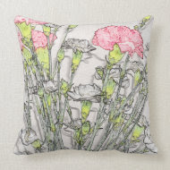 Etched Pink and White Carnations throwpillow