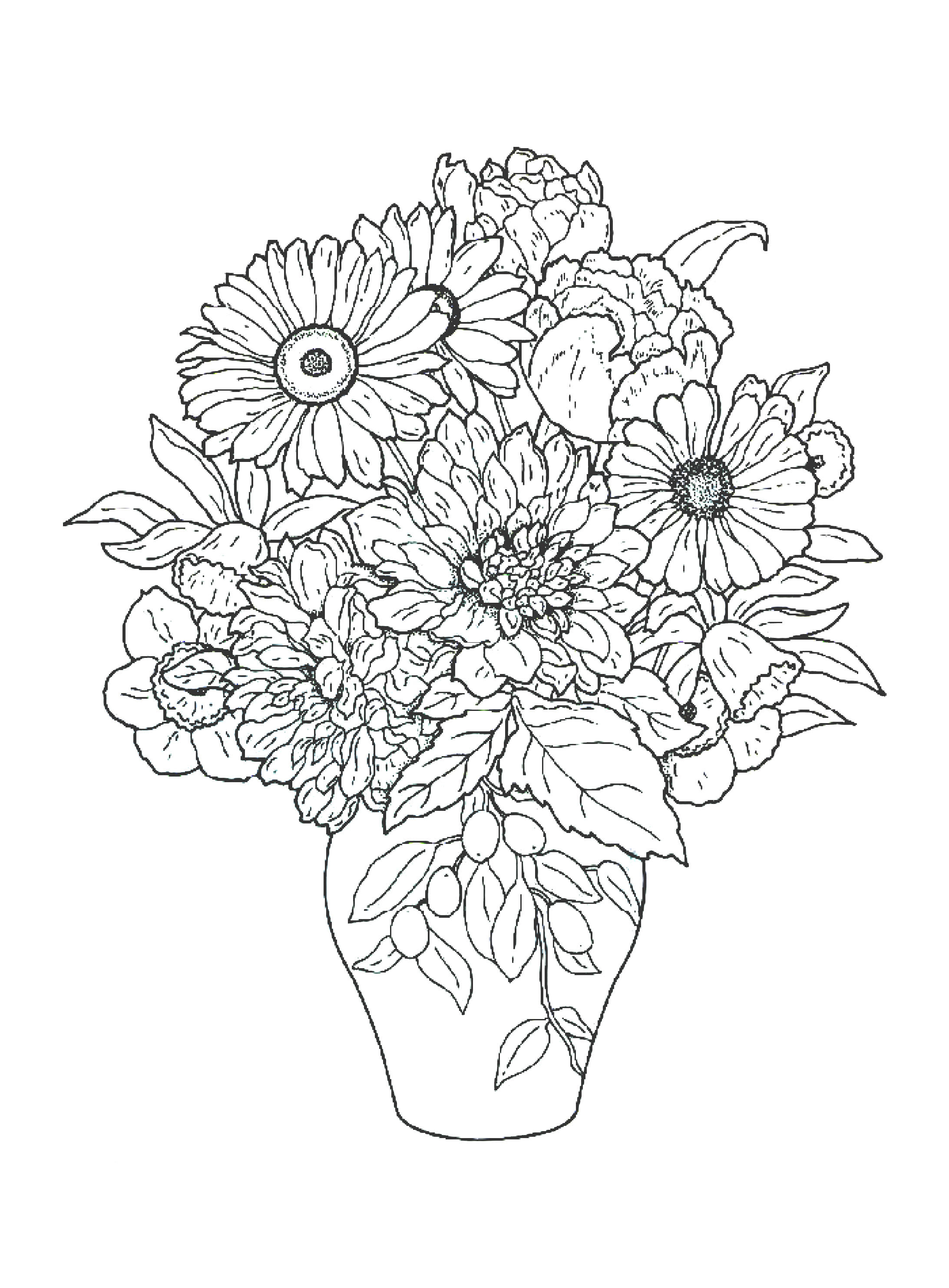 Bouquet Of Flowers Coloring Pages for childrens printable ...