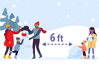 Two families are shown outdoors in the snow building snowmen. The families are 6 feet apart from each other while doing this activity.