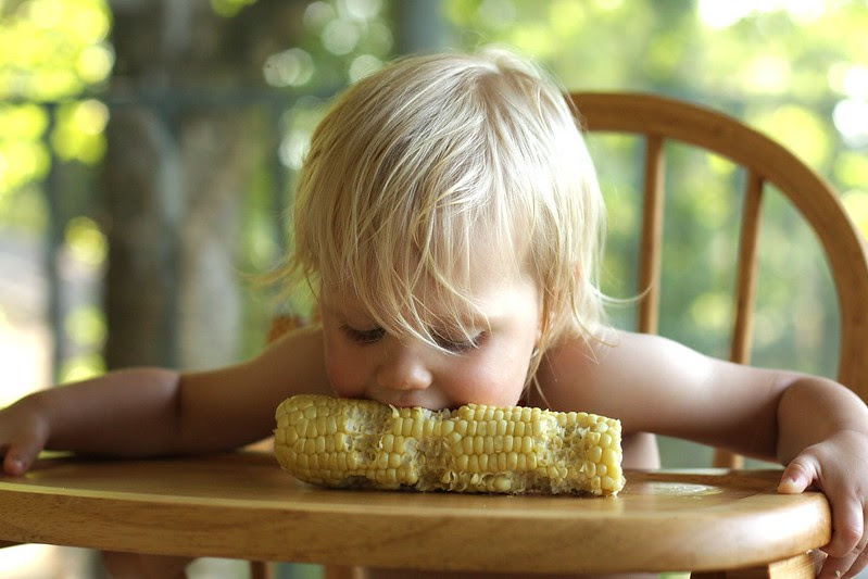 Little L's corn on the cob eating style